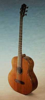 Headwaters model 5-string bass made entirely with woods certified by SmartWood